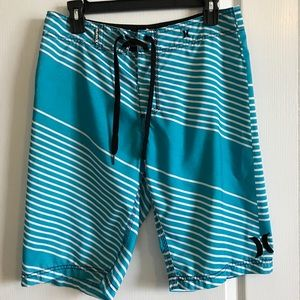 Hurley men's swim trunks in turquoise/white sz 29